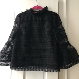INA black lace top with bell sleeves